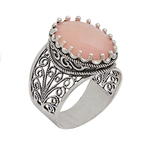925 Sterling Silver Pink Agate Oval Filigree Ring (Size 6 - 11) (7)