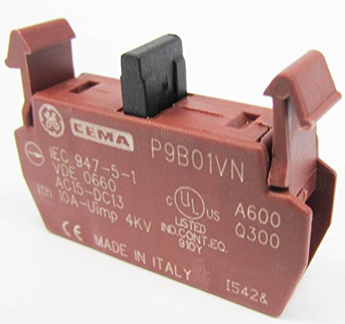 GE P9B01VN SWITCH CONTACT BLOCK, 1 POLE, P9 SERIES