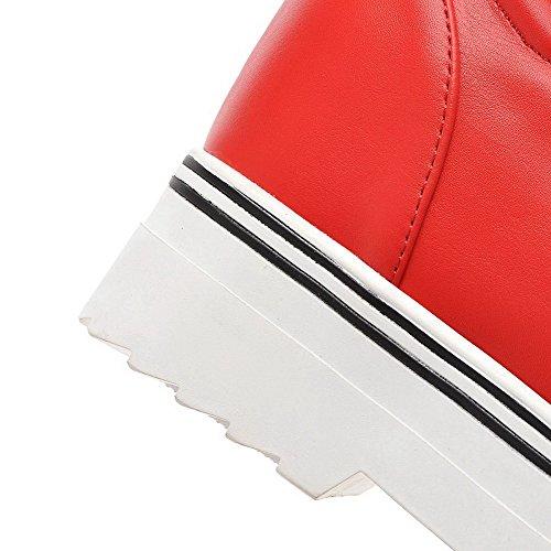 Damen PU Rund Absatz Pumps Leder Schuhe Ziehen Eingelegt Rot Hoher AllhqFashion Zehe auf SqxRdqg