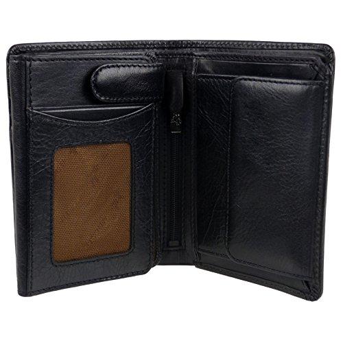 Black Fold Visconti Leather RFID by Tan Protected Gift Tri Wallet Italian Stylish Box Mens xqgwBOYB