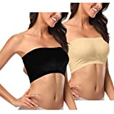 U-Pretty Women's Seamless Padded Bandeau Bra Strapless Bra Top Tank Top L / Fits For 32D 24C 36A 36B Black+beige