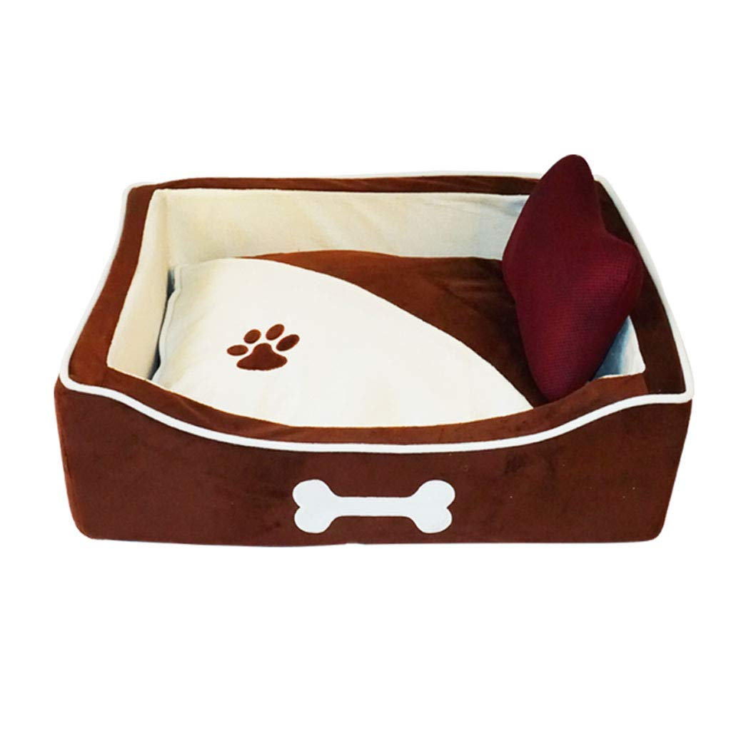 66x50x18cm 66ccwwww Pet bed Kennel, removable and washable summer cat and dog pet nest than bear Teddy medium and large dog house four seasons universal Brown (Size   66x50x18cm)