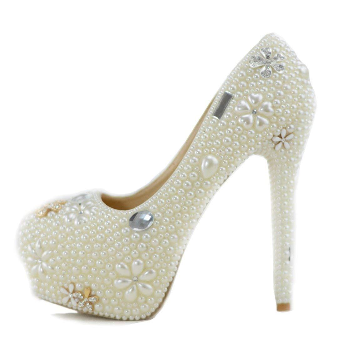 Qiusa Damen versteckt Plattform High Heel Elfenbein Perlen Slip-on Braut Hochzeit Schuhe UK 7.5 (Farbe   - Größe   -)