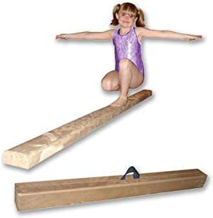 Nimble Sports 8 Feet Long Tan Folding Gymnastics Balance Beam for Home