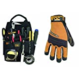 Custom Leathercraft 5505 Professional Electrician's Tool Pouch, Ballistic Poly, 12-Pocket and 160M Contractor XtraCoverage Flex Grip Work Gloves, Medium