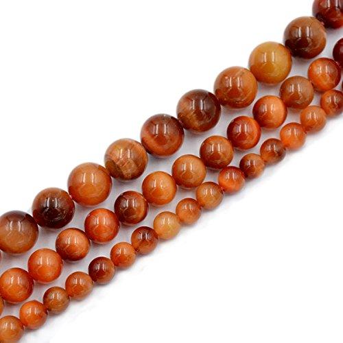 AD Beads Natural Tiger's Eye Gemstone Smooth Round Beads 7.5