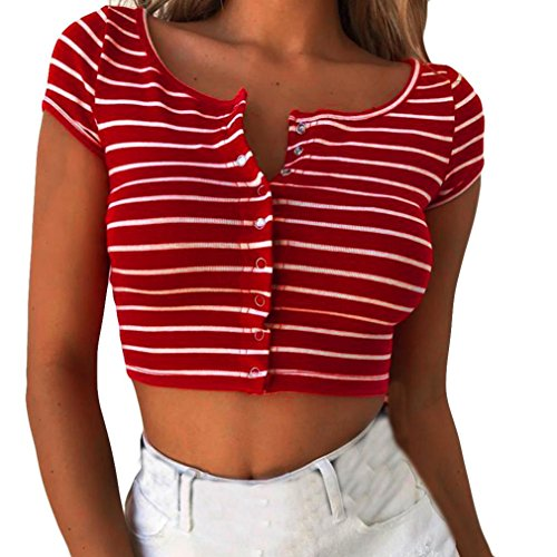 2018 New Women's Sexy Stripe Short Sleeve Club Crop Tops Blouse T-Shirt by E-Scenery (Red, Small) - Womens Sexy Top New Shirt