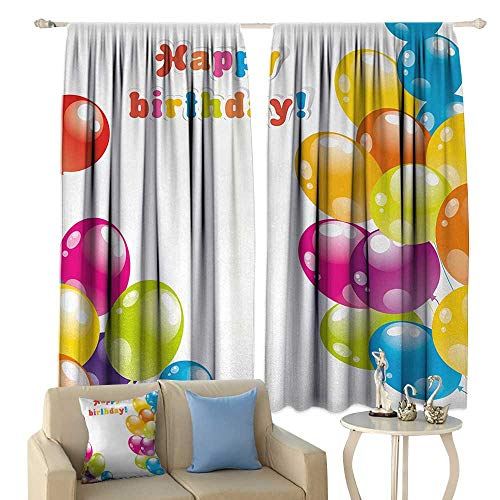 HoBeauty Birthday, Window Curtain Drape, Colorful Festive Mood Flying Party Balloons in Surprise Happy Occasion Set Up, Customized Curtains,(W72 x L63 Inch, -