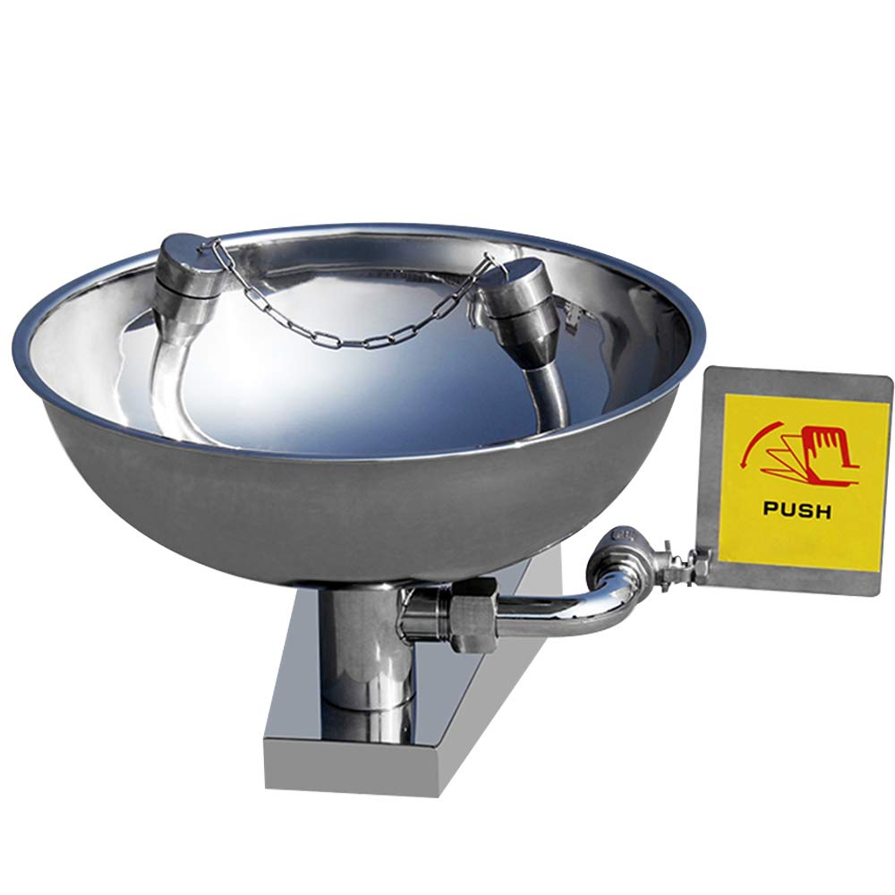 Huanyu Emergency Eye Wash Station Table 304 Stainless Steel Wall-Mounted with 80 Mesh Gauze 12-18L/min