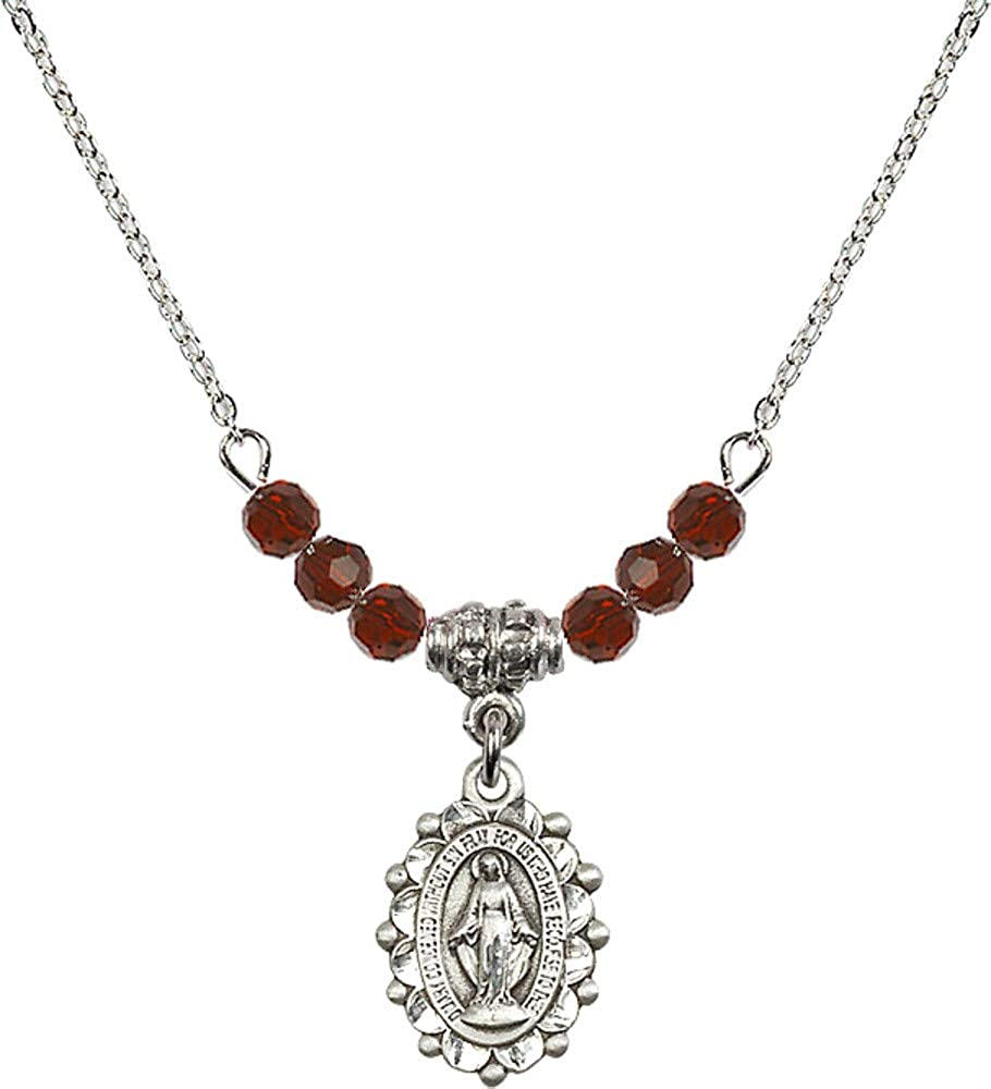 Bonyak Jewelry 18 Inch Rhodium Plated Necklace w// 4mm Red January Birth Month Stone Beads and Miraculous