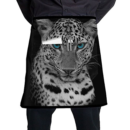 (XiHuan Grill Aprons Kitchen Chef Bib Leopard Portrait Professional For BBQ Baking Cooking For Men Women Pockets)