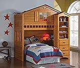 1PerfectChoice Kids Youth Fun Tree House Twin Loft Bunk Bed Bookshelf Storage Cabinet in Oak