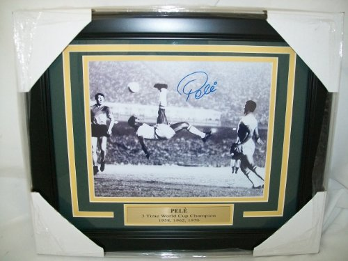 Pele Autographed Reprint Framed 8x10 Photo Bicycle Kick World Cup Soccer Great (8x10 Autographed Photo Pele)