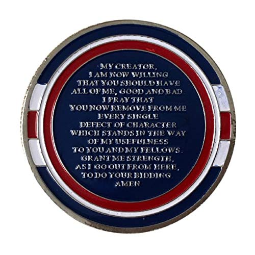 2 Year Alcoholics Anonymous Chip 7th Step Prayer on Back w/Coin Capsule