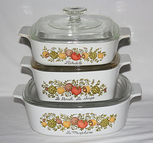 Vintage Kitchen Glass Casserole (Set of 3 - Vintage 1970s Corning Ware