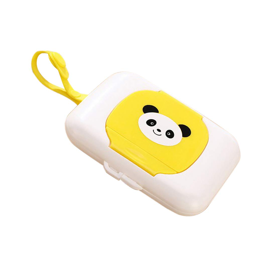 Yellow 100Pcs 164 x 117 x 30mm Fityle Baby Wet Tissue Box Plastic Case Tissues Paper Holder Kids Child Travel Wipe Press Pop up Design Refillable