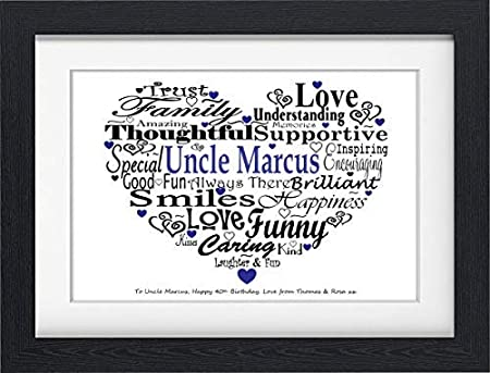 Word Art Gifts PERSONALISED UNCLE GIFT PRESENT BIRTHDAY FOR FRAMED Amazoncouk Kitchen Home