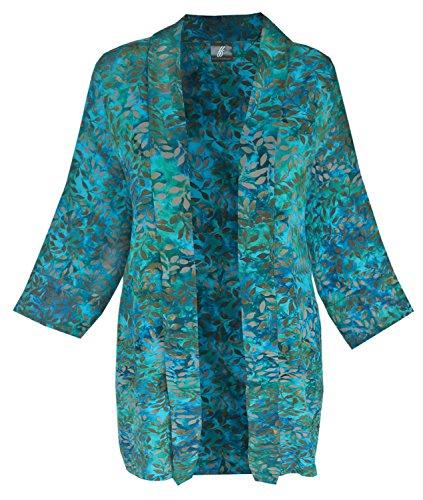 Boho Kimono Cardigan, Blue Teal Bohemian Jacket, 1x 2x Women's PLUS SIZE Clothes
