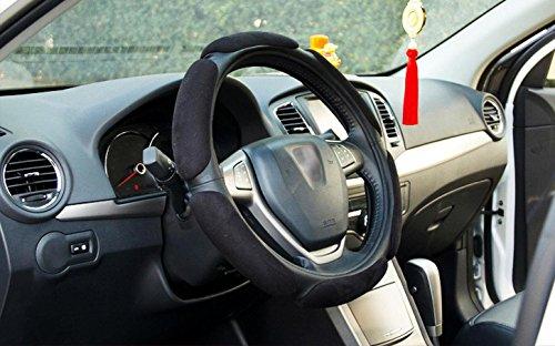 Premium Suede Cover (Onlineb2c 38CM Premium Car Steering Wheel Suede Cover Warm Hands in Winter Automotive Car Steering Wheel Case (Black))