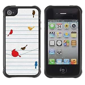 Suave TPU GEL Carcasa Funda Silicona Blando Estuche Caso de protección (para) Apple Iphone 4 / 4S / CECELL Phone case / / Birds Cute Drawing Minimalist /