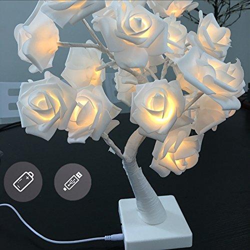 24LEDs Table Lamp Lights 14.4Ft Desk Light Flower Rose Tree TWO Mode Powered via USB Port and Battery for Home Decorations Home Decor Whtie Rose Color Lights (Flower Table Lamp)