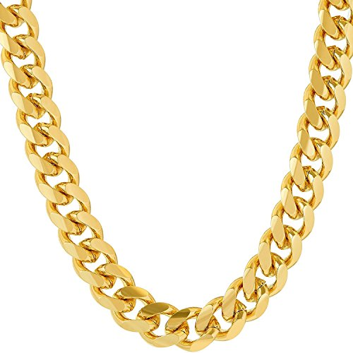 Gold Chain Necklace 9MM 24K Fashion Jewelry Diamond cut Miami Cuban Link Hip Hop Real solid clasp Gift ()