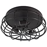 Caged Light Fixture Rustic Industrial Vintage Ceiling Lighting Oil Rubbed Bronze Flush Mount 3 E26/E27 Light Base for Kitchen Black