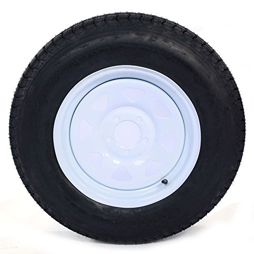 Set of 2 15'' White Spoke Trailer Wheel with Bias ST205/75D15 Tire Mounted (5x4.5) bolt circle by Roadstar (Image #5)