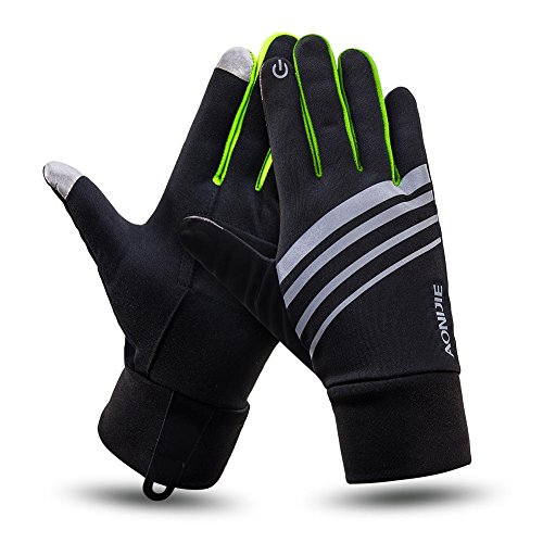 Men & Women Thin Lightweight Thermal Winter Touch Screen Reflective Running/Jogging/Driving/Cycling Sport Athletic Gloves For Cold Weather Lemon S/M