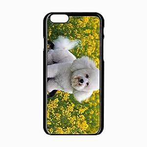 iPhone 6 Black Hardshell Case 4.7inch dog grass flowers poodle Desin Images Protector Back Cover