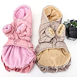 Pink Lizard S Pet Dog Puppy Winter Cotton Bow Hoodie Jacket Coat Clothes Warm