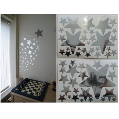 52 Mirror Star Wall Stickers On 2 Sheets Of A4: Amazon.co.uk: Kitchen U0026 Home