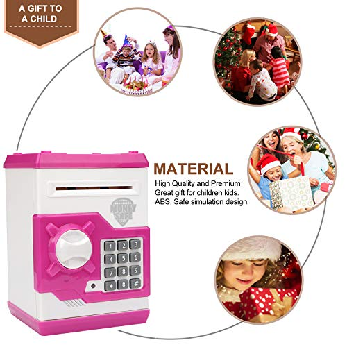 Lefree ATM Savings Bank,Money Bank with Electronic Auto Scroll Paper Cash,Simulate Fingerprint ATM Piggy Bank for Real Money,Alarm Clock and Broadcast Time Money Safe for Kids