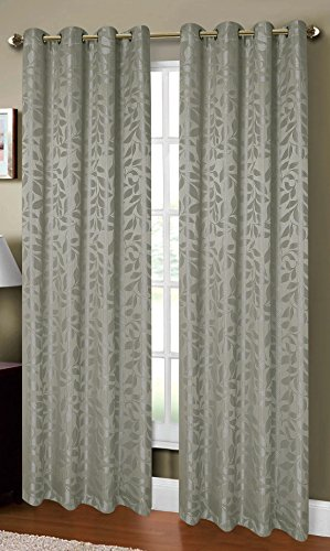 Window Elements Alpine Textured Woven Leaf Jacquard Grommet  108 x 84 in. Curtain Panel Pair, Sage (Window Covering Ideas)