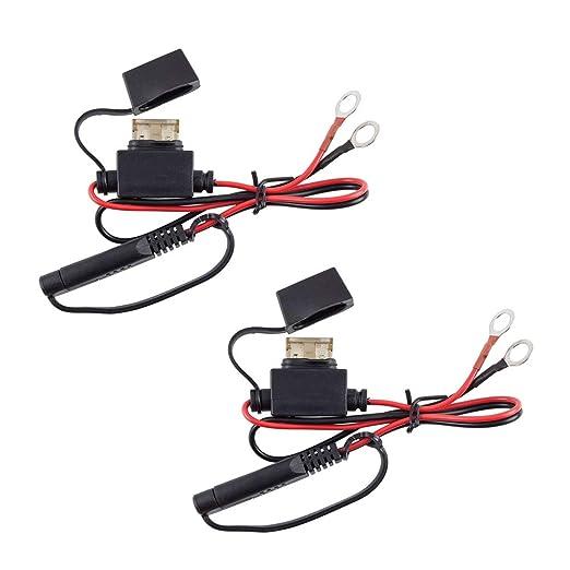 2 cables de carga para motocicleta, terminales de batería, arnés de conector de 12 V, cable adaptador de carga de desconexión rápida, cable de ...