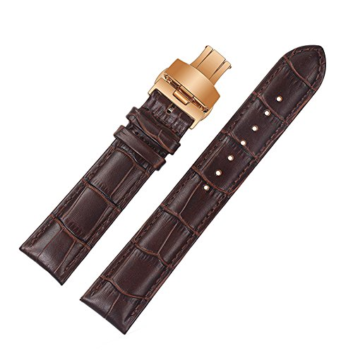 ViuiDueTure (12mm-22mm) Brown Luxury Business Classic Calfskin Leather Strap Replacement Watch Band Rose gold Deployment Buckle (22mm)
