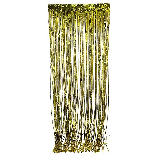 Tytroy Shimmer Door Curtains Fringe Metallic Foil Tinsel Packs 3'x8' (1, (Gold Tinsel Star)