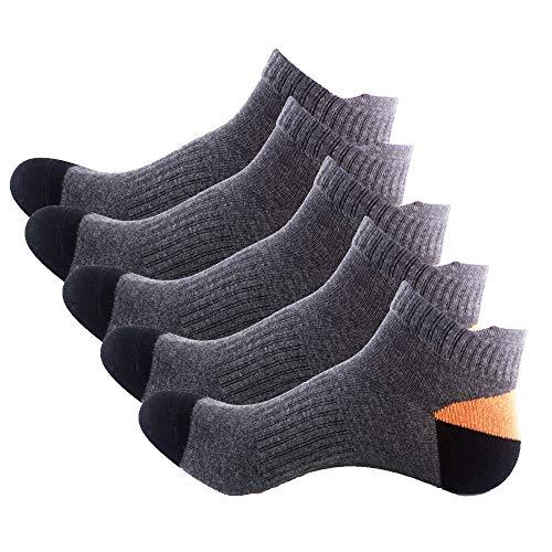 layle Mens Socks Non-slid Ankle Cotton High Grade Socks 5 pair pack (Black)