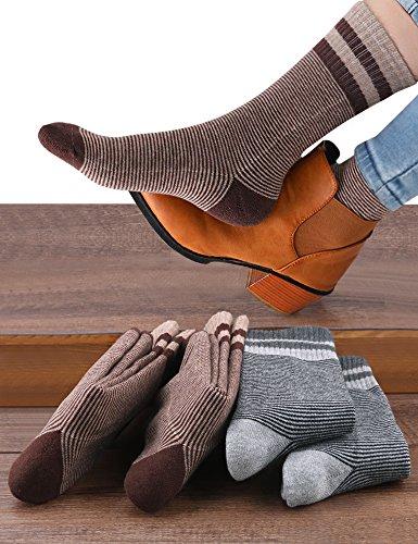 VERO MONTE 4 Pairs Womens Striped Cotton Socks Crew - Thick Warm Socks for Women