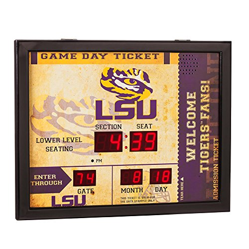 Team Sports America NCAA Bluetooth Scoreboard Wall Clock, LSU Tigers