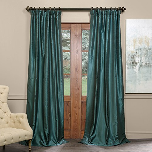 CH-KBS14BO-108 Blackout Vintage Textured Faux Dupioni Curtain, Peacock, 50 X 108 (Green Home Decor Fabric)