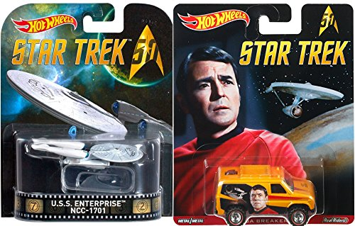 Hot Wheels Star Trek Space Pack U.S.S. Enterprise & Pop Culture Baja Breaker Scotty Real Riders