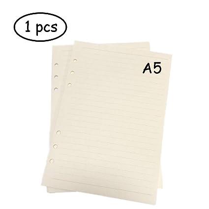 Carpeta de recambio de 6 anillas, tamaño A5, para cuadernos de hojas sueltas, papel (1 unidad, 45 hojas/90 páginas), estilo horizontal estándar para ...