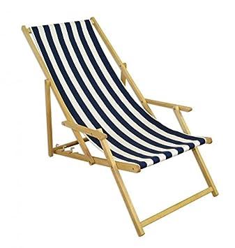 Erst Holz Deckchair Blau Weiß Gartenliege Strandliege Sonnenliege  Gartenstuhl Buche Hell Klappbar 10