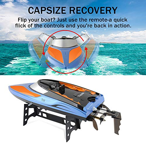 GizmoVine RC Boat High Speed (20MPH+) Remote Control Boats for Pools and Lakes with Extra Battery for Kids and Adults, 2020 Update Version (Blue and Orange)