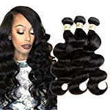 Body Wave Human Hair 3 Bundles 18 20 22 inch Sale, 100% Real Unprocessed Brazilian Remy Human Hair Weave Weft Extensions Natural Black