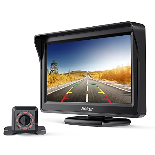 aokur Dash Backup Camera IR Cam Quick Installation 4.3 LCD Monitor Night Vision Parking System IP68 Waterproof