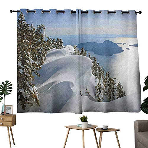 bybyhome Winter Grommet Night Darkening Curtains Pacific Ocean Meets The Mountains Vancouver British Columbia Canada Curtain for Living Room White Olive Green Blue W72 x L72]()