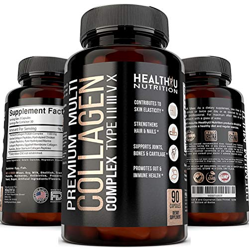 Premium Multi Collagen Peptides Pills - Hydrolyzed Collagen Capsules for Women and Men Types 1 2 3 5 10 - Radiant Skin Strong Hair and Nails - Healthy Bones Strong Joints and Muscles - 90 Capsules
