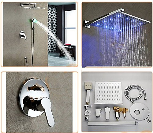 GOWE Wall Mounted LED Shower Set Copper Shower Faucet Set w/ 8 LED Light Waterfall Shower Head + LED Hand Shower 1
